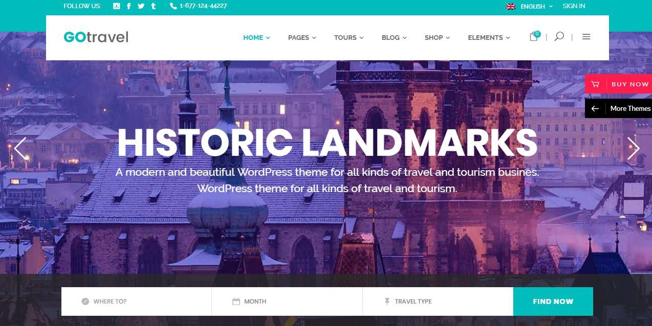 Gotravel - mẫu website du lịch hiện đại