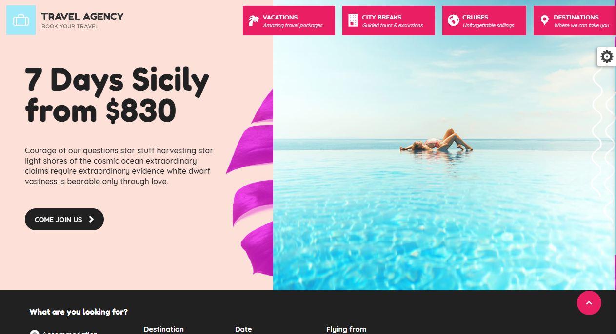 Travel Agency - mẫu website du lịch thu hút
