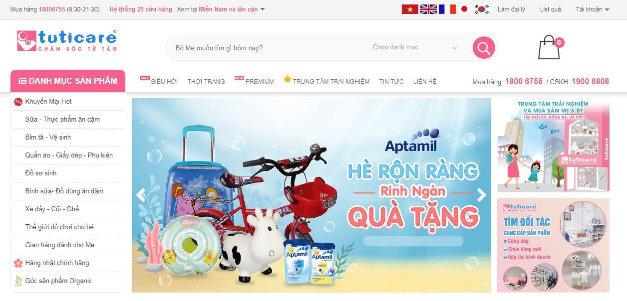 Tuticare - website bán hàng trẻ em tổng hợp